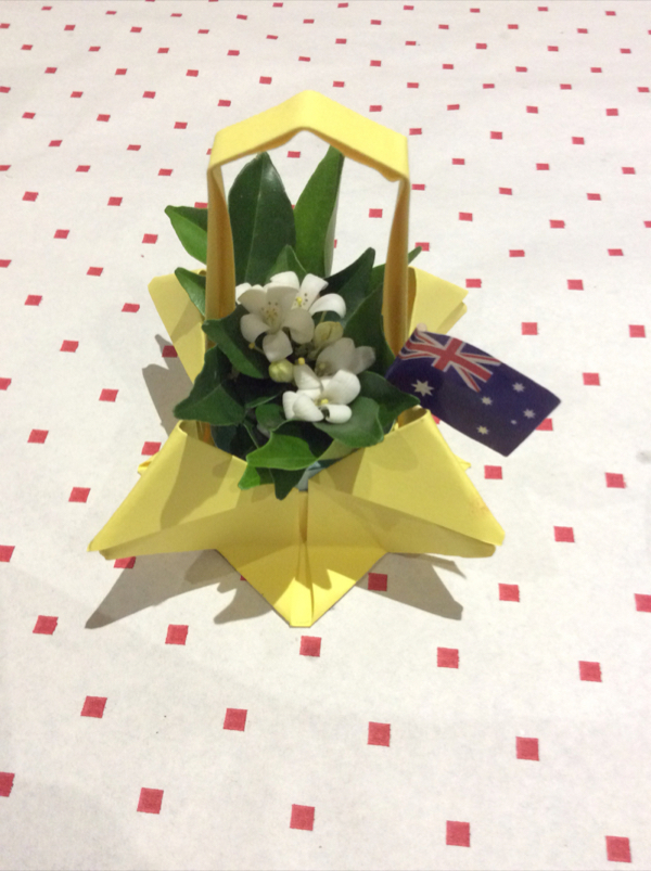 Yvonne Roy supplied these hand made table decorations.