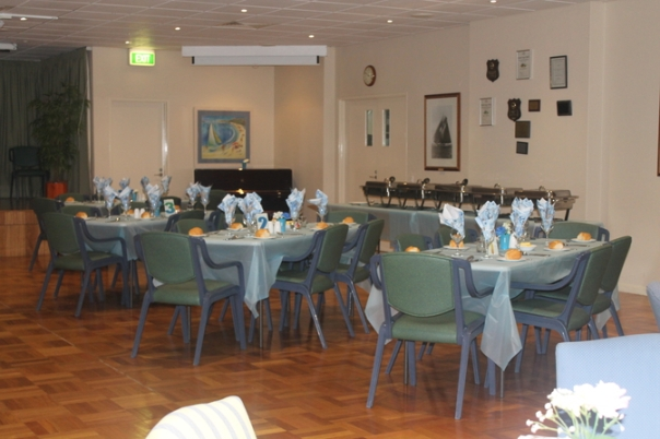 Dining tables all set up ready to go...