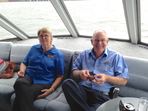 Scenic Cruises host, Kerrie, and our driver, Warren, relax during the cruise.
