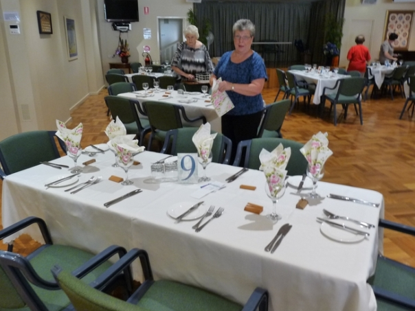 Residents start early in the afternoon to set up for the evening dinner