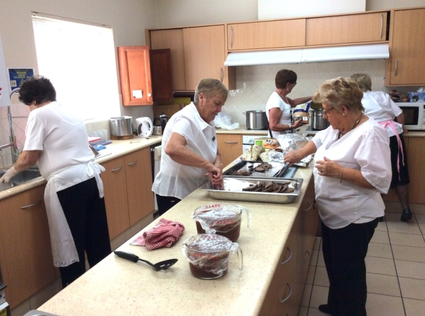 The Social Committee ladies preparing the food..