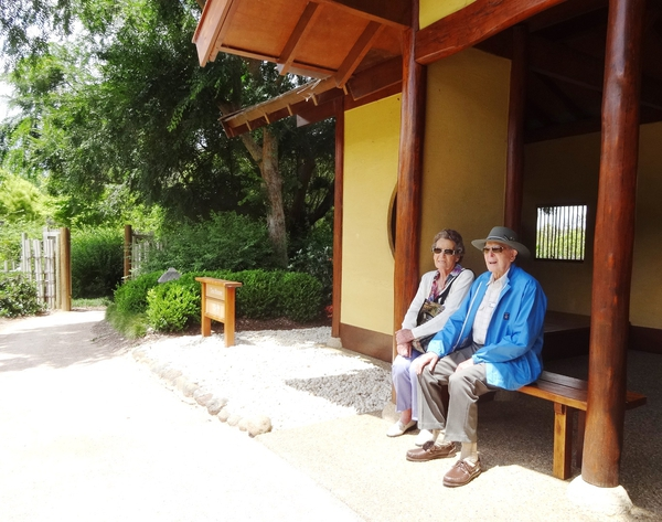Relaxing and meditating in the Tea House