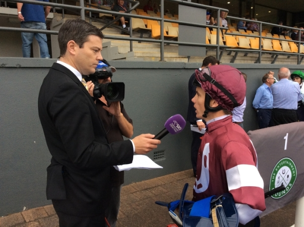 Sky Sports interviews Tim Clark, our jockey, after the race.